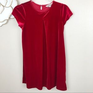 Land's End girls short sleeved red velvet dress